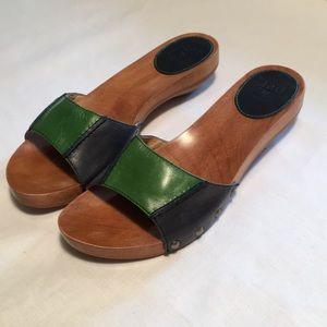 Frye Shoes - FRYE Ellie Leather Color Block Slides